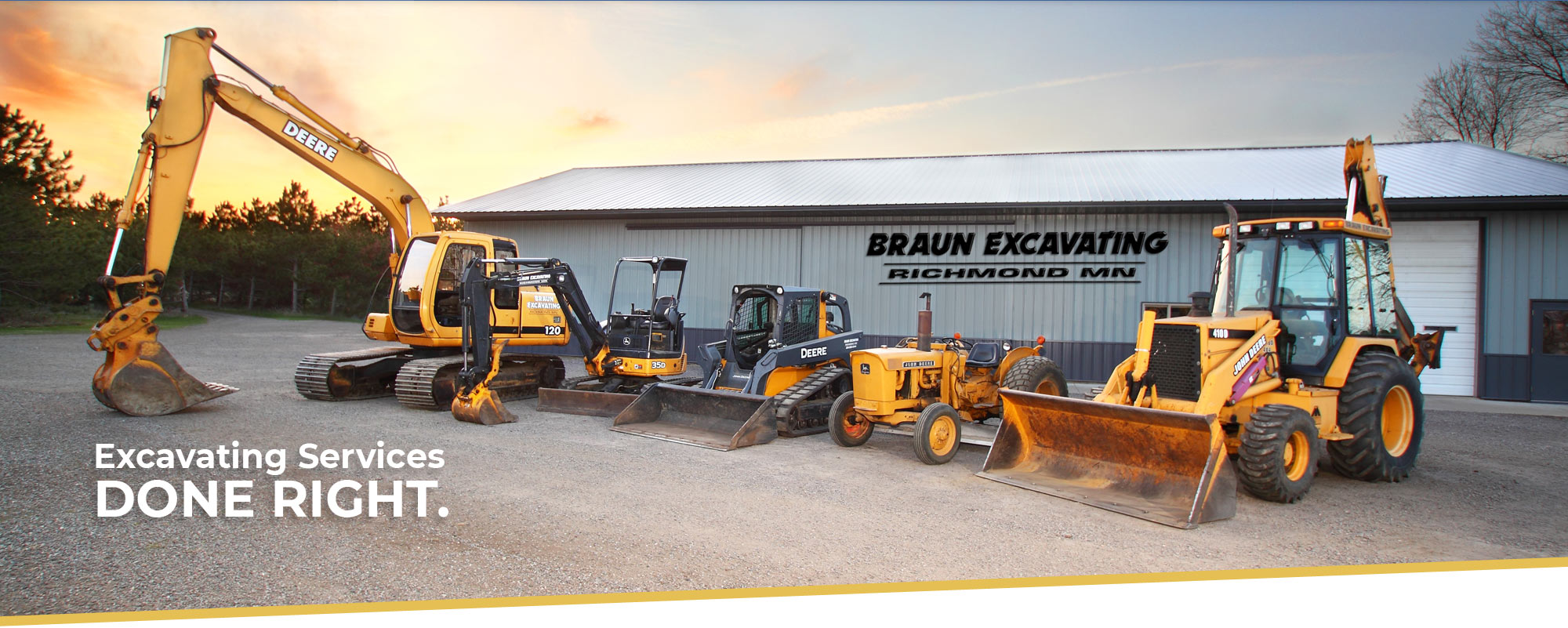 Row of Braun Excavating's earth moving equipment, including a large excavator, mini excavatorm, bobcat, and backhoe